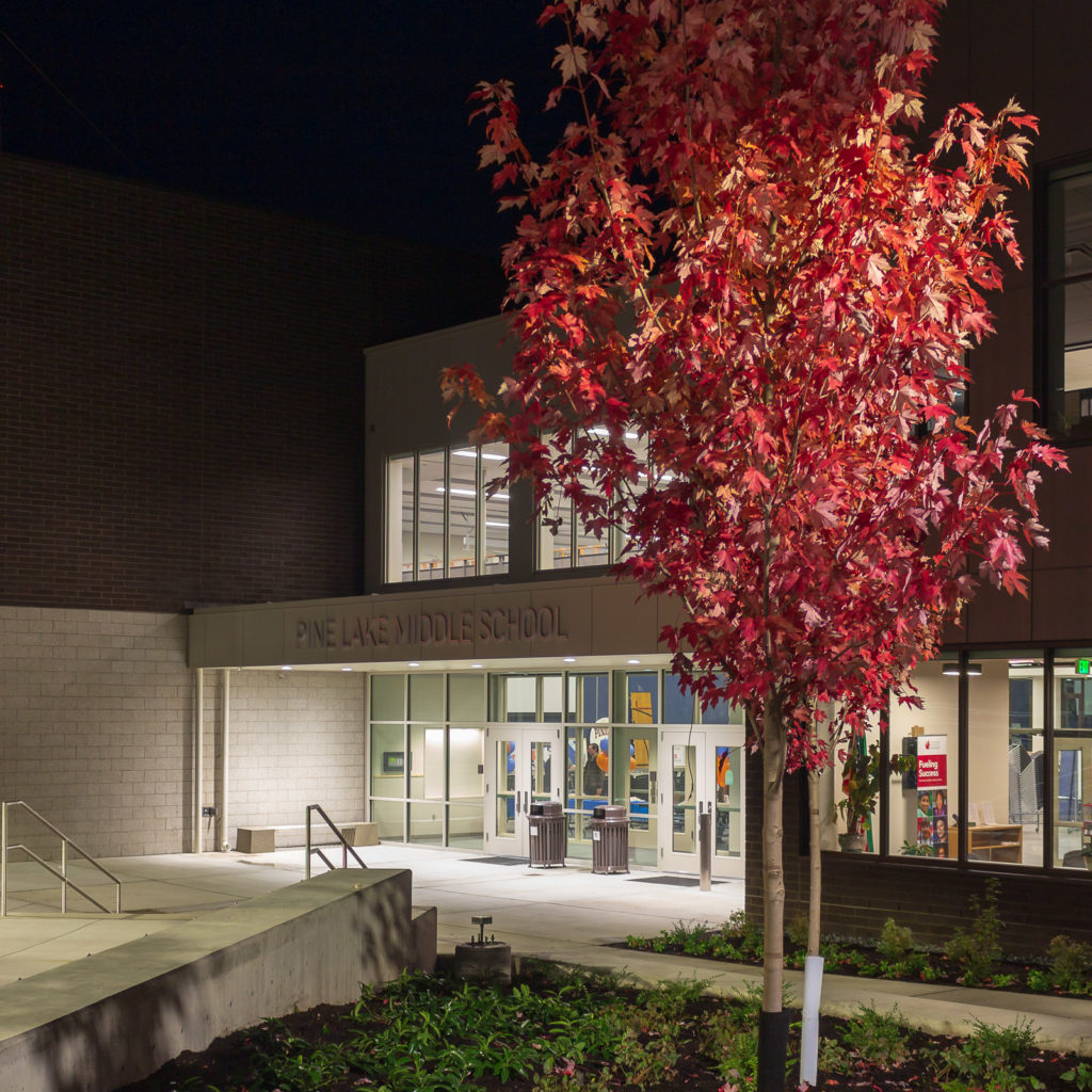 Pine Lake Middle School Building at Night