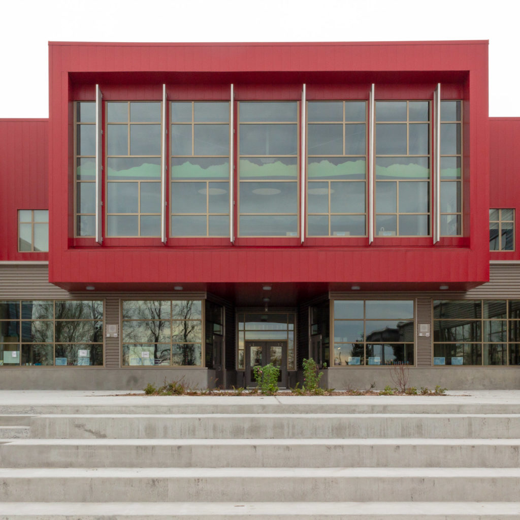 Exterior view of the cantilevered library.