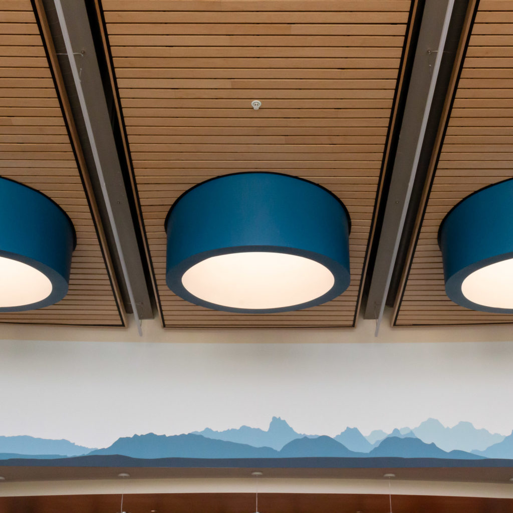 Large diffuse lighting in the ceiling of the school library.