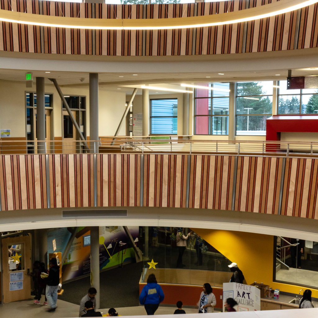 A view from the second floor shows the multilevel rotunda at the core of the building.