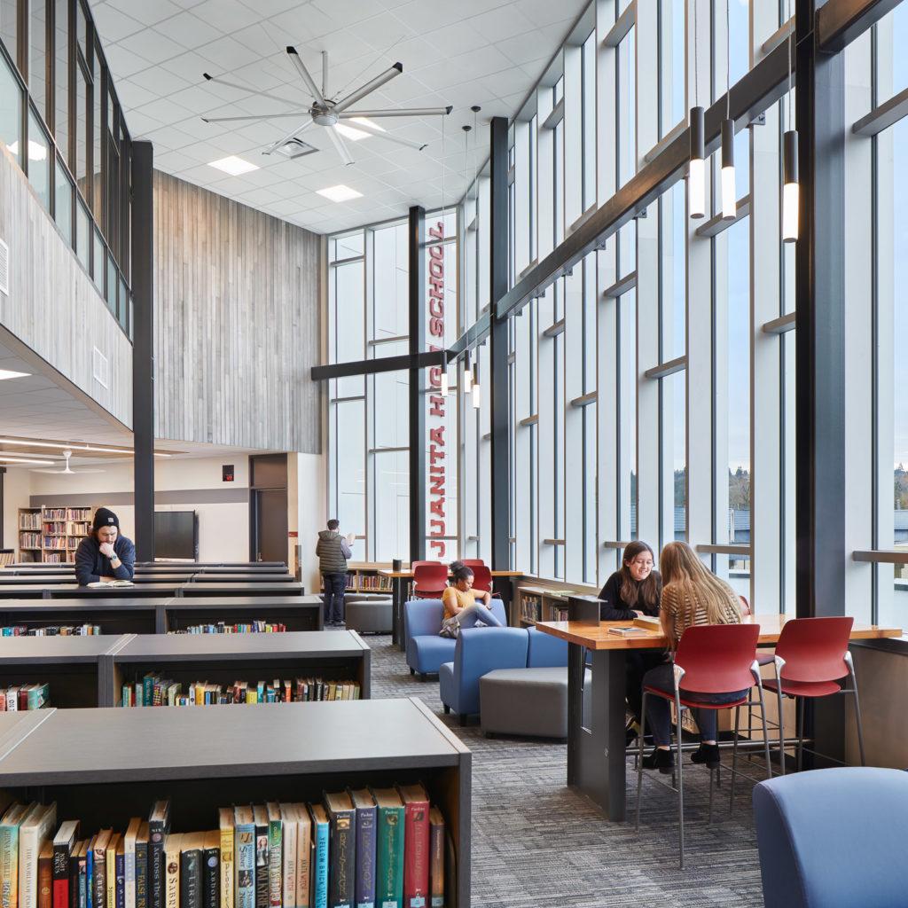 The library at Juanita High School.