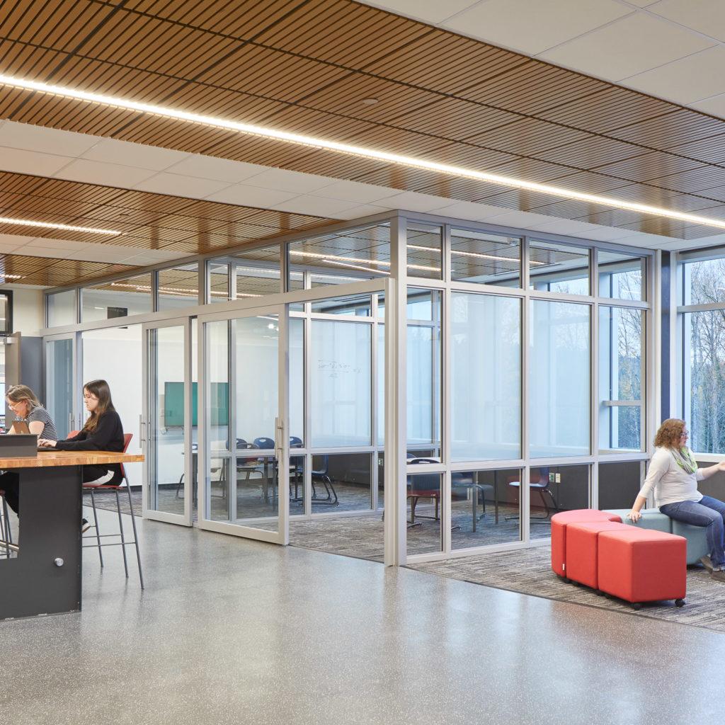 Flexible study spaces at Juanita High School.
