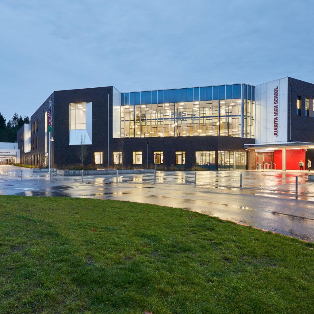 Juanita High School building in Kirkland, Washington