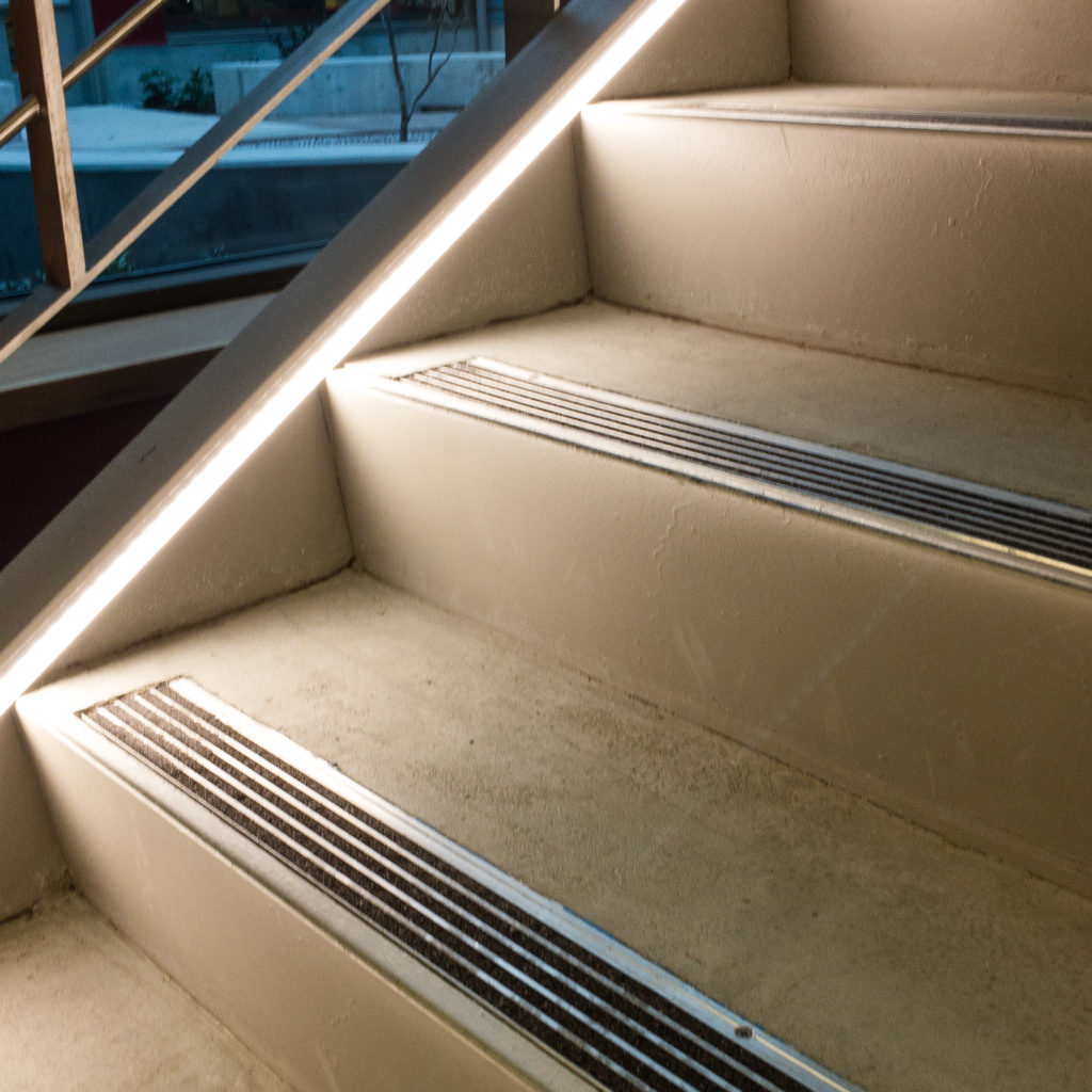 LED lighting adds interest and safety to stairways.