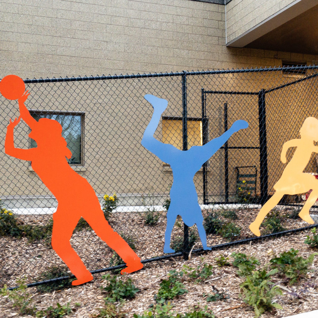 Graphic elements of school children playing.