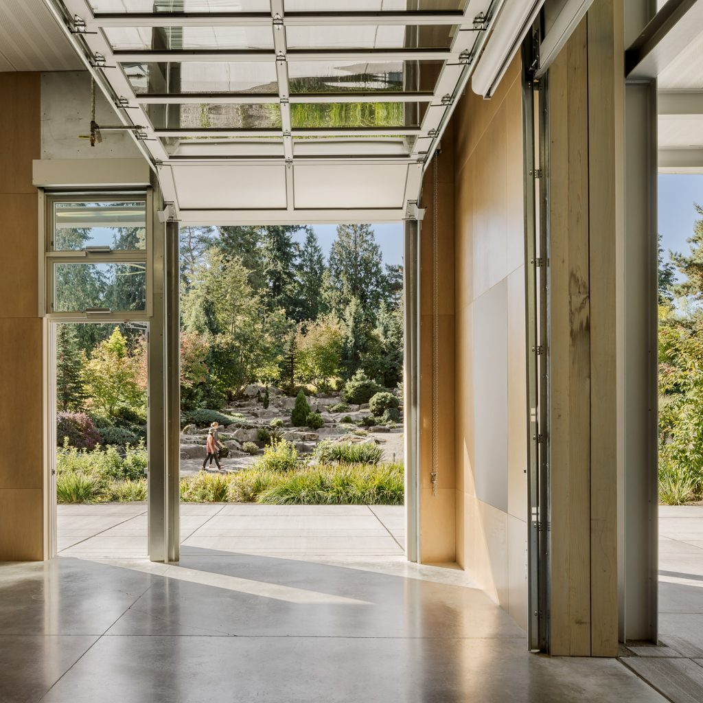 Garage doors bring the outside into the Visitor Center.