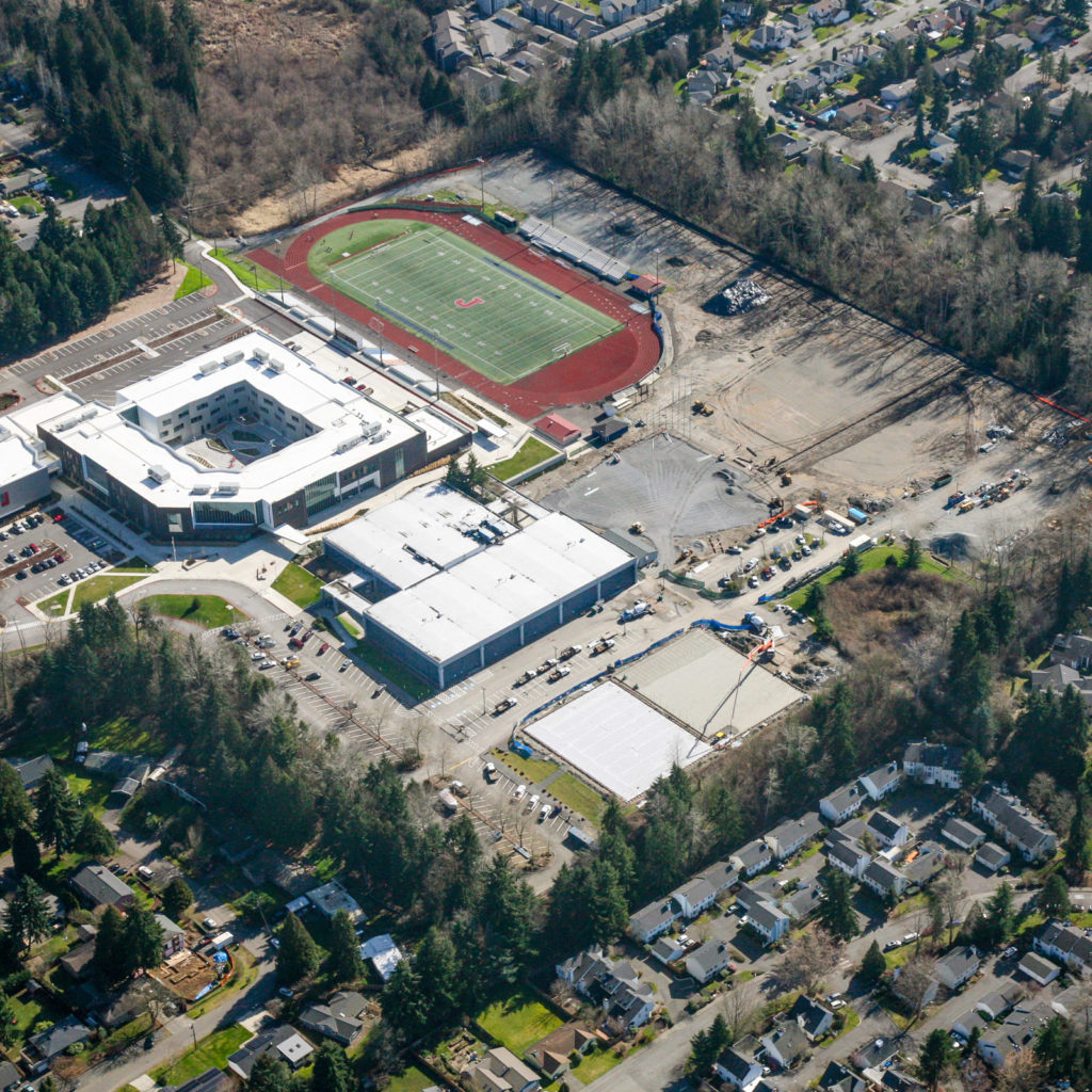 Aerial view of the campus, as of March 2021. Finishing sports fields.